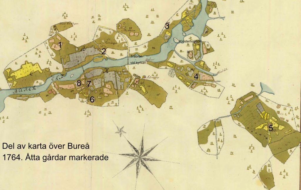 Karta över Bureå från 1764